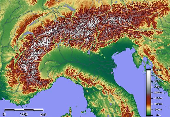 Topografic map of the Alps